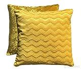 CC Luxus Chevron Waves Woven Retro gecrushter Samt Rückseite 43,2cm gefüllt Scatter Kissen, Ochre Yellow, 17x17