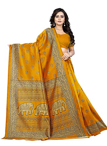 Jaanvi Fashion Women\'s Art Silk Elephant Motifs Kalamkari Printed Saree (Yellow)