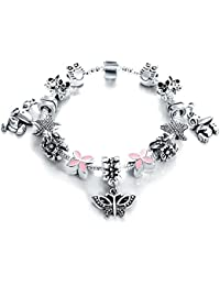 Wearyourfashion Antique Silver Plated Pink Butterfly Charms Bracelet for Women/Girls