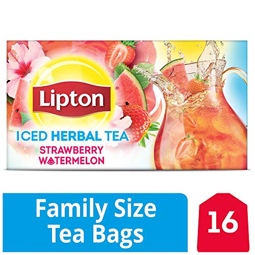 Lipton Caffeine Free Strawberry Watermelon Iced Herbal Tea 16 Family Size Tea Bags 57.6g