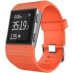 Sannysis para Fitbit Surge Correa reemplazo Fitbit Surge Funda Protector Correas de Repuesto para la Pulsera de Actividad Fitbit Surge (Naranja)