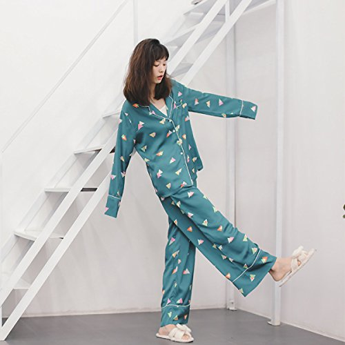 Pigiama Da Donna A Maniche Lunghe Cardigan Pantaloni Larghi Gamba Servizio Di Casa Confortevole In Due Pezzi Di Seta Morbida Green