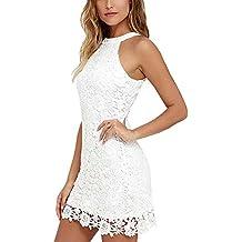 Wodery Le donne pizzo floreale cut-out vestito da cocktail sfera Vestitino  Gown fe57c776f71