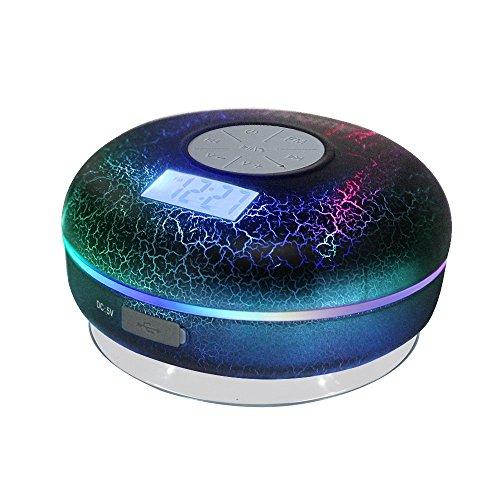 hrome Bluetooth ducha altavoz resistente al agua IPX7baño altavoces con radio FM, NFC, pantalla LCD, reloj, Cool agrietamiento con retroiluminación, fuerte adhesión ventosa manos libres llamadas