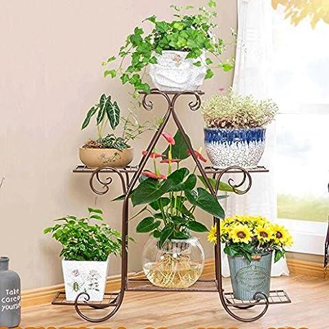 YYF Porte-fleurs Plancher en bois à plusieurs étages Étagère polyvalente en polyuréthane Multi-fleur à étages Salon de style européen Étagère à fleurs de balcon Radis vert ( Couleur : C , taille : Grand )