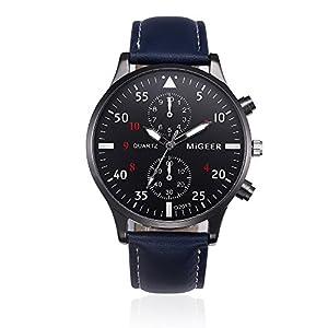 KanLin1986 reloj de pulsera retro, reloj de cuarzo de los hombres con banda de cuero de KanLin1986