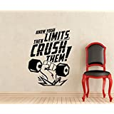 CVANU Gym Wall Vinyl Decal Know Your Limits Sport Fitness Motivational Quote Custom Sticker Inspirational Poster Kids Nursery