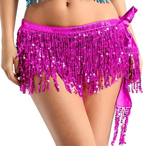 dPois Damen Bauchtanz Rock Kostüm Pailletten Quasten Rock Taillenkette Frauen Hüft Tuch Zubehör Dancewear Glänzend Tanzrock Weinachten Performance Rose One ()