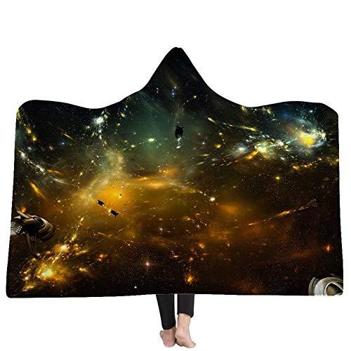 FGVBWE4R Mit Kapuze Decken 3D Decke Dark Fallen Planet 3D Printing Kapuzen Decken Tragbare Erwachsene Home Hotel Tragbare Blanket-06,130x150cm