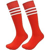 Westeng 2par Long-barreled Rayas Calcetines de Animadora de Fútbol Baloncesto Deportes Calcetines de Algodón Calcetines de Caña Alta Hombre Mujer,Rojo