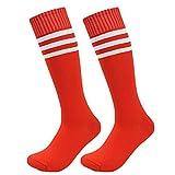 Mytobang calcetines calcetines de los deportes del fútbol de la raya de los cabritos de los niños 3 del hockey de los calcetines del fútbol del fútbol del calcetín del calcetín del calcetín del alto calcetines largos del tubo calzan las rayas de los deportes de las mujeres de los hombres, 1 par (rojo)