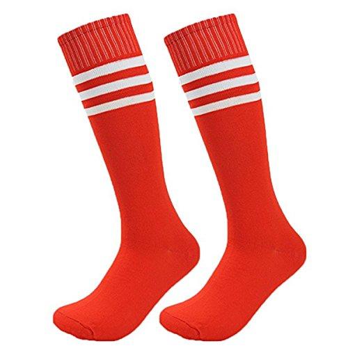 Demarkt Damen Mädchen Cheerleader College Kniestrümpfe Männer Dame Fußball-Socken Gestreifte Sportsocken College Socks Baumwollstrümpfe