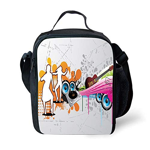 ZKHTO School Supplies Grunge,Music People with Turntable and Speakers Dancing Funky Urban Nights Guitar Print,Multicolor for Girls or Boys Washable - Pocket Amp Guitar