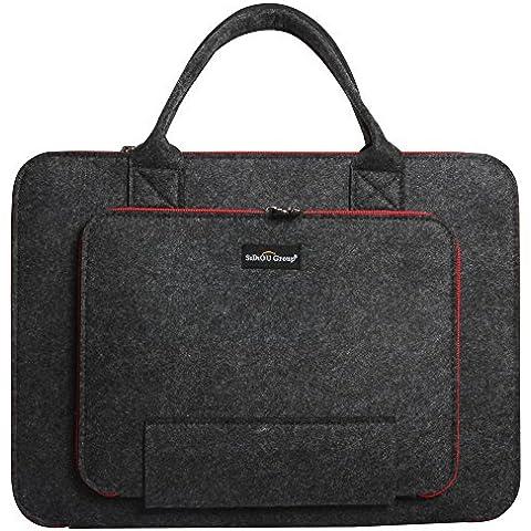 Sidiou Group Fashion bolsa de ordenador portátil Tablet PC paquete de caja de la manga de la tela impermeable del bolso del ordenador portátil (12 pulgadas, borde negro +