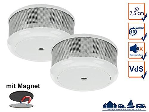 2er-Set Mini 10-Jahres Rauchwarnmelder + Magnet-Set mit VDS & DIN EN14604/ Maße nur 75 x 35 mm