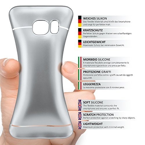 iPhone 6S Hülle Silikon Gold [OneFlow Smooth Back-Cover] Chrom Matt Silikonhülle Ultra-Slim Schutzhülle Metallic Handy-Hülle für iPhone 6/6S Case Dünn PLATIN-SILVER