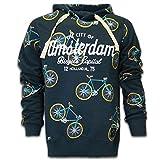 Amsterdam Hoodie Sweater All Over Fahrraden (Blau, L)