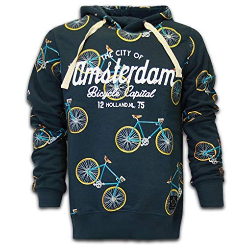 Amsterdam Hoodie Sweater All Over Fahrraden (Blau, L) -