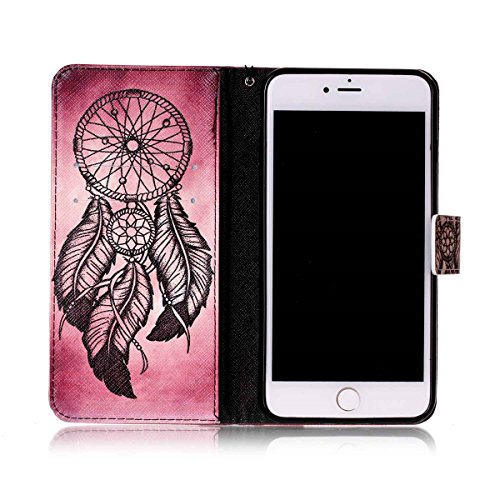 Coque iPhone 7 Plus, Étui en cuir pour iPhone 7 Plus, Lifetrut [Cash Slot] [Porte-cartes] Magnetic Flip Folio Wallet Case Couverture avec sangle pour iPhone 7 Plus [Prune] E209-Attrapeur de rêves