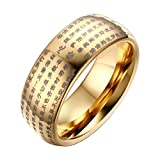 OAKKY Hommes Tungstène Carbure Chinois Heart Sutra Gravé Abîmé Mariage Bague Band 8mm Or Taille 68