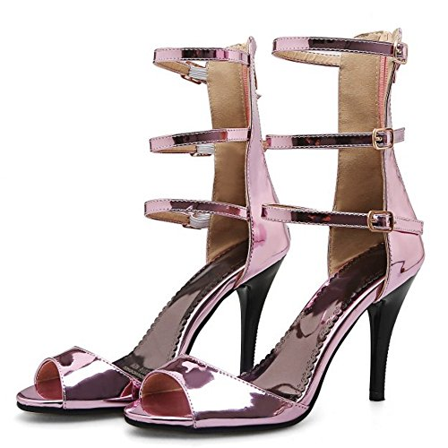 TAOFFEN Mode Femmes Gladiateur Peep Toe Sandales Aiguille Talons Hauts Fermeture Eclair Chaussures De Boucle Rose