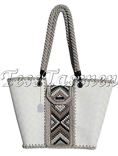 Frauen große weiße Öko-Leder Schultertasche mit Stickerei Gestrickte Designer Shopper Tasche milchweisßen gefärbt Top Griff Tasche.Geflochten Griffen.Tote Tasche -