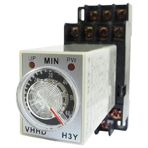 sourcingmap® H3Y-4 Clignotant LED Alimentation Minutage Relai 4PDT 14 Axe 0-60 m 60 Min 220V AC w. Base