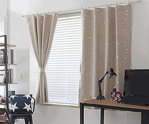 Yiyida étoiles Foil Imprimé Rideaux prêts à isolation thermique avec anneaux plastique Rideaux occultants pour enfants Chambre à coucher 1m x2m une paire, beige, 1m width x 2m Drop