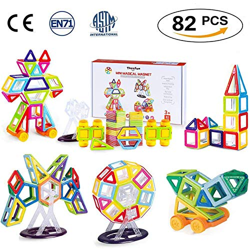 Theefun TY01 Magnetische Bausteine 82 Teiliger Mini Bauklötze Tragbare Magnetismus Baukasten Konstruktionsbausteine Magnetspielzeug, Konstruktion Blöcke Lernspielzeug Motorikspielzeug für Kinder