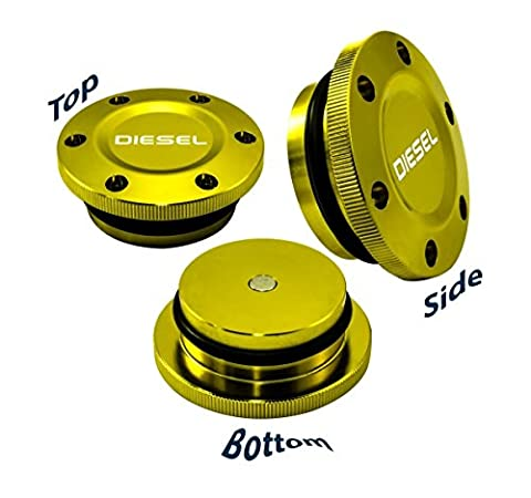 2013-2017 VMS Racing MAGNETIC FUEL CAP Anodized Billet Aluminum for Dodge Ram Cummins DIESEL and Ecodiesel 13 14 15 16 17 2013 2014 2015 2016 2017 (Gold)