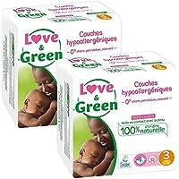 Love & Green - Couches Bébé Hypoallergéniques 0% - Taille 3 (4-9 kg) - Lot de 2 x 32 couches (64 couches)