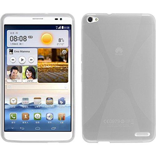 PhoneNatic Case für Huawei MediaPad X1 Hülle Silikon clear, X-Style + 2 Schutzfolien