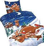 Winter Bettwäsche Mikrofaser Thermofleece Elch 135 x 200 cm 2-teilig blau warm weich flauschig Winter Weihnachten Schnee Winterlandschaft Rentier