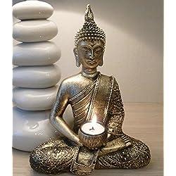 Grand bougeoir pour bougie chauffe-plat en forme de Bouddha thaï doré en méditation