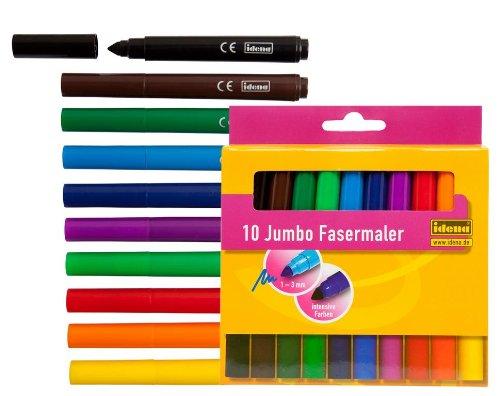 10 Jumbo Fasermaler / Filzstifte / 10 verschiedene Farben