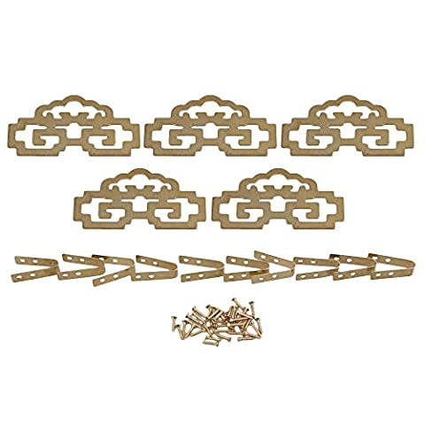 BQLZR 8cmx4.6cm Brass Antique Chinese Classical Painting Label Frame Picture Hangers Hanging Hook with Screws Pack of