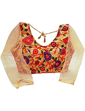 Diseñador Indian Blusa Acolchada Mujeres Bordados Readymade Cosido Top Saree Cosecha