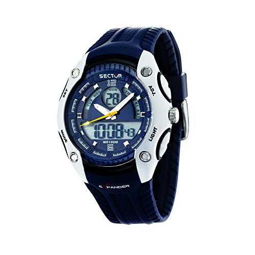 Sector Men's Digital Watch with LCD Dial Digital Display and Blue PU Strap R3251574005