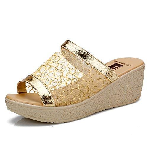 Mesh pantoufles/Lady avec chaussons à semelle épaisse/Plateforme sandales de coins B