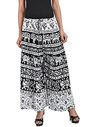 Kalpit Creations Women's Cotton Jaipuri Printed Palazzo In Free Size(Assorted Design In Black And White Animal...