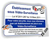 Sticker Texte de Loi Vidéo Surveillance Loi N° 2011-267 du 14 Mars 2011 - Autocollant Caméra (Largeur 15 cm/Hauteur 10 cm)