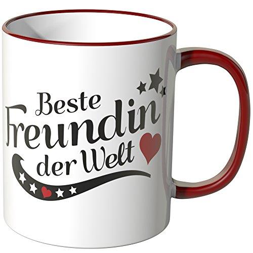 WANDKINGS® Tasse, Spruch Freundin der Welt - ROT