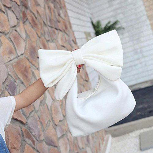 Longra Borsa del sacchetto della frizione del bowknot di colore solido delle donne Bianca