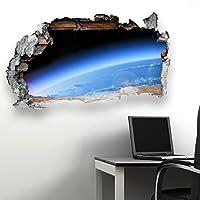 Photo Realistic Space Earth Orbit Scene 1 Planet Broken Wall Bathroom Kitchen Bedroom Lounge Wall Transfer Decal Mural