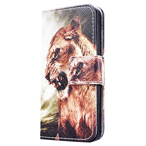 SMART LEGEND Lederhülle für iPhone 5 / 5S / SE Ledertasche Hülle Schwarz Farbe Muster Schutzhülle Premium PU Leder mit Handschlaufe Flip Case Protective Cover Innere Weiche Silikon Bookcase Handy Tasc Lion