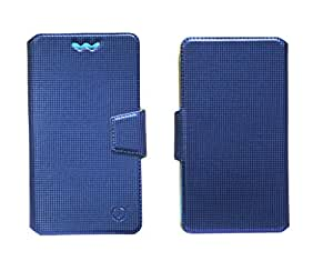 J Cover Reba Series Leather Pouch Flip Case With Silicon Holder For Intex Cloud Pace Blue