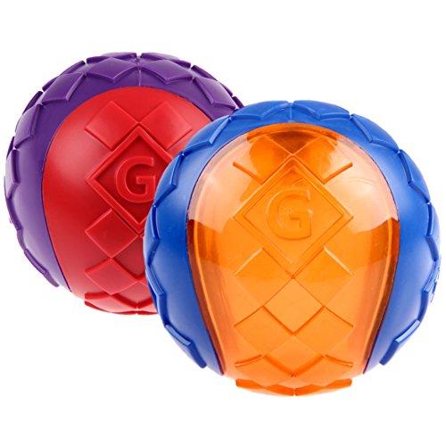GiGwi 6411 Hundespielzeug schwimmfähiger G-Ball mit Quietscher, 2-er Pack, Hundeball / Spielball, L
