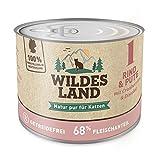 Wildes Land | Nr. 1 Rind & Pute | 6 x 200 g | Nassfutter für alle Katzenrassen | Getreidefrei | Extra viel Fleisch | Beste Akzeptanz und Verträglichkeit | Rohstoffe aus der Lebensmittelproduktion | Hergestellt in Deutschland