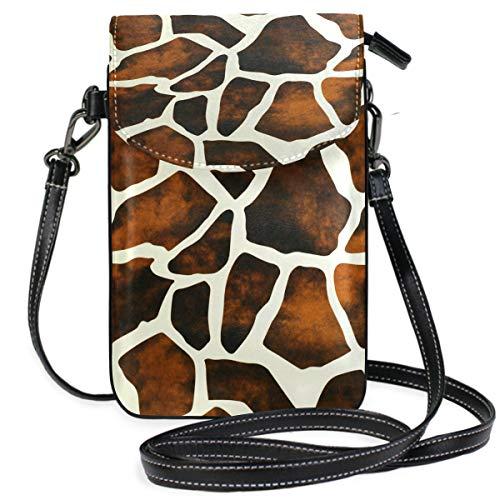 ZZKKO Mini-Umhängetasche mit Giraffenmotiv, Leder, für Damen, lässig, Reisen, Wandern, Camping