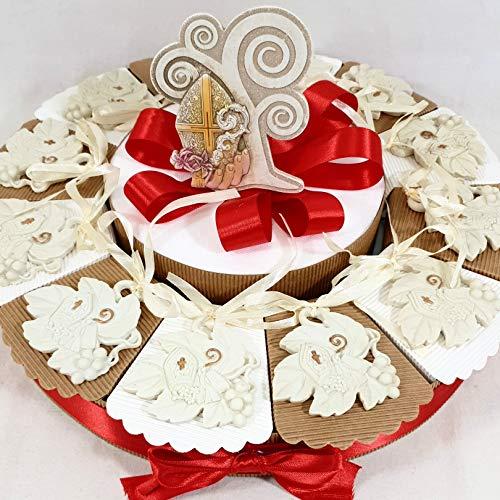 Torta bomboniera per Comunione e cresima Insieme Idea Sacramento Bimbo Bimba Chiave mitria Bastone (Torta 12 fette Foglia)